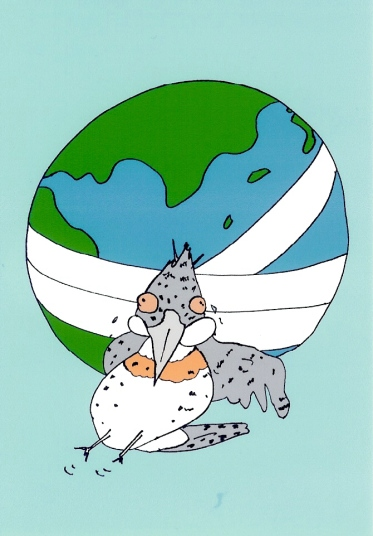 地球とヤマセミ